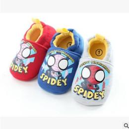 Wholesale Recién nacido Anti Slip Soft Zapatos de bebé único Superhero de dibujos animados Spiderman Tela de algodón Baby Boys Niñas Niño Prewalker Baby First Walker