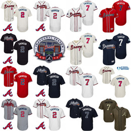 online shopping 2017 Inaugural SunTrust Park Commemorative Patch Atlanta Braves Mens Dansby Swanson Cool Base MLB Jersey Stitched size S XL