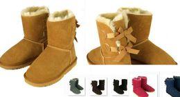 El ENVÍO LIBRE 2017 el invierno alto clásico de la NUEVA NAVIDAD de Australia patea la nieve de cuero real del arco de Bailey de las mujeres del Bowknot de cuero real patea el cargador de zapatos
