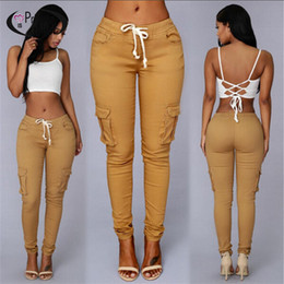 Wholesale High Recomendar el estilo más popular de estilo khaki jeans apretados pantalones vaqueros de moda lado de la pierna de la pierna capris niñas más tamaño