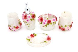 High Grade Resin 5 Pieces Bathroom Accessory Set With Pastoral Rose Relief Ensemble Summer Fresh Sanitary Ware Home Decor Bath Ideas Home Gi