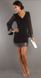 online shopping Millyn New fashion sexy sequin dress black deep v neck three quarter sleeve above knee hot sale party dresses plus size S XL