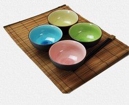 Смешать цвета Crack Глазурь Японский Bowl Набор 4 Качество 4,5 дюйма керамический рисовый суп Чаши Азиатский Lifestyle Посуда Подарочные LLFA