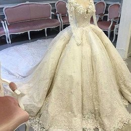 Discount cathedral long wedding dress Luxury Lace Royal Wedding Dresses 2017 Ball Gown Sheer Crew Neckline Sheer Long Sleeves Beaded Cathedral Train Bride Wedding Gowns