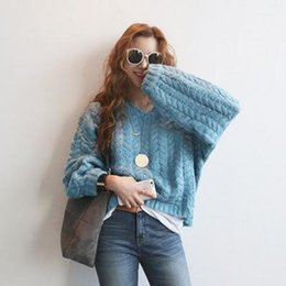 Women's 2017 New Autumn and Winter Sweater Collar V Twist Grain Loose Head Backing Knitted Sweater