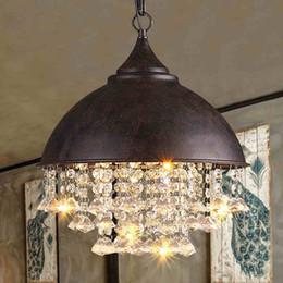Modern Crystal Chandeliers American Industrial Chandelier Lights Fixture  Hanging Pendant Lamps Home Indoor Lighting Metal Retro Droplight