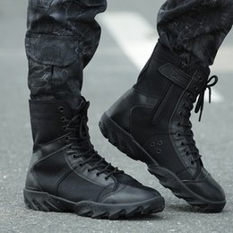 Wholesale-Blackhawk Tactical Men Bottes Outdoor Combat Army Chaussures Randonnée Botas Cuir Ultralight High Autumn WearableBoots Taille masculine 37-44