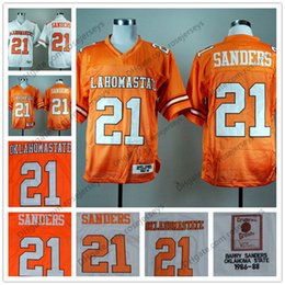 69f92741d NCAA Oklahoma State Cowboys  21 Barry Sanders Retro Jerseys Orange White  1986-88 Vintage College Football Vintage Stitched Jersey S-3XL
