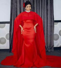 2018 Fashion arabic Red Mermaid Evening Dresses Long With Chiffon Dubai  Kaftan Cape African Women Formal prom party Gowns celebrity Dress 20cc8a91a733