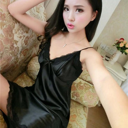 Wholesale- Sexy Silk Satin Night Dress Sleeveless Nighties V-neck Nightgown  Plus Size Nightdress For Women Lace Sleepwear Nightwear 2a5e0c46f869