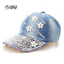 fashion Diamond cap pearl cowboy hat women Denim snapback baseball cap  Female Casual summer Rhinestone Leisure jean Hat c1724c9875a4