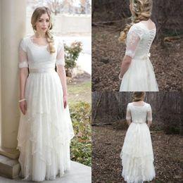 59c711c9f2e Stunning 2018 Country Wedding Dresses Lace Tulle Garden Short Sleeves Sheer  Bridal Gowns Tiers Skirt Plus Size Arabic Vestido de novia
