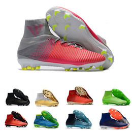 New 2018 CR7 Football Boots Size 35-45 Mercurial Superfly V AG FG Soccer Shoes Mens Women Kids Outdoor Soccer Cleats