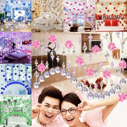 1 Meter Glass Crystal Beads Rose Flower Curtain Partition Screen Window Drapes Multi Color Option No Pendants