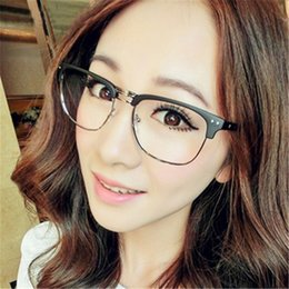 3751536481 Fashion Men s Metal Half Frames Square Glasses Frame Retro Women Men  Reading Glass Anti Radiation Clear Lens Computer Eyeglass