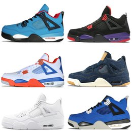 803a3a5bbfdd 4 4s Travis Scotts Cactus Jack Mens Basketball Shoes Raptors Kaws Denim  Eminem Pure Money Bred Royalty Dunk From Above men sports sneakers