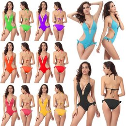 f1385065dc8f7 2018 Sexy One Piece Swimsuit Women Swimwear Green Leaf Bodysuit Bandage Cut  Out Summer Beach Bathing Suit Swim Swimsuit