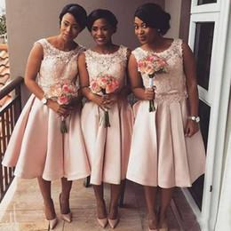 9136c8c320 Blush Pink Bridesmaid Dresses 2018 Jewel Neck Satin Tea Length Lace  Applique Beads Party Dress Plus Size Maid of Honor Wedding Guest Gowns