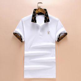 993234375e1f 2018 3D Summer Fashion Brand Men Short-Sleeved Polo Shirts Cuffs Collar  Geometric Pattern Letter Printing Medusa Casual Polo Shirts M-3XL
