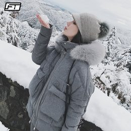 85c7fe33dc9 Fitaylor Real Fox Fur Collar White Duck Down Parkas Winter Women Slim  Hooded Jackets Warm Snow Down Gray Coat Y18101702