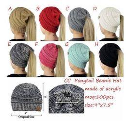 2018 Fashion Women s Girl Stretch Knit Hat Messy Bun Ponytail Beanies Holey Warm  Winter Hats New Trendy CC Warm Winter Hat 11b97e83deb3