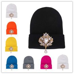 2018 Winter Hats for Women Knitted Wool Warm Outdoor Ski Hats Lady  Rhinestones Beanies Skull Cap 66bf3373c376