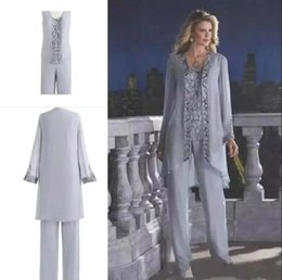 Gray Cheap 2018 Mother Of The Bride Three-Piece Pant Suit Lace Chiffon Wedding Mother's Groom Dress Long Sleeve Wedding Guest Dress BA6571