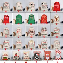 2018 christmas large canvas monogrammable santa claus drawstring bag with reindeers monogramable christmas gifts sack bags