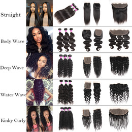 Discount hair extensions Cheap Straight 8A Brazilian Human Hair Bundles with Frontal 100% Unprocessed Body Wave Virgin Hair Bundles with Closure Deep Wave Extensions