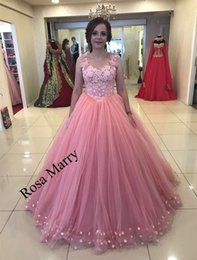 Blush Pink Ball Gown Arabic Prom Dresses 2018 3D Floral Plus Size Vintage  Lace Beaded Formal Quinceanera Engagement 2K18 Evening Party Gowns ab01935657b1