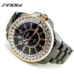 2018 SINOBI Fashion Women Diamonds bling Wrist Watches Imitation Ceramics  Watchband Top Luxury Brand Dress Ladies Geneva Quartz Clock e0163e7a08e4