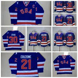1980 USA Miracle Hockey Jerseys Team 21 Mike Eruzione 30 Jim Craig Jerseys  Blue White Team USA Miracle On lternate Year Jerseys Stitched 1b62b404d
