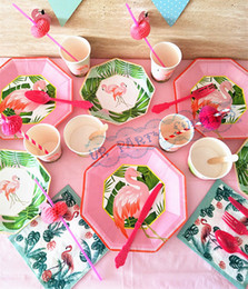 24 sets flamingo tableware paper plates cups napkins straws fiesta tropical birthday wedding decoration baby shower supplies