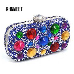 Newest Multicolor Big Crystal Evening Purse Blue Silver Black Women Luxury  Diamond Purse Cheaper Wedding Bridal Lady Clutch bags 07e60eb8f9db