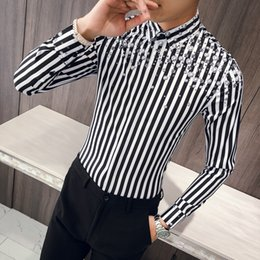 f8f8750a Fashion 2018 Korean Men Shirt Brand Autumn New Slim Fit Striped Shirts Mens  Casual Long Sleeve Vintage Print Tuxedo Men Clothes