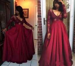 Burgundy Sexy plus size long sleeves black girl african prom dresses mermaid  black evening formal party gowns long length pageant lady wear 7bc96dc8e475