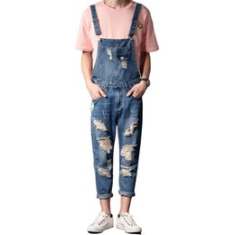 ca0566ce9251 wholesale Men Fashion Distressed Jeans Jumpsuits Ripped Denim Bib Overalls  Destroyed Suspender Pants For Man Plus Size S-5XL