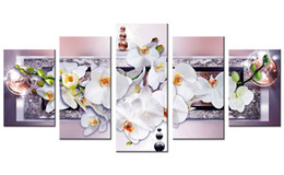 White flowers oil paintings canvas nz buy new white flowers oil 5 pieces canvas painting white orchid flowers wall art painting crystal background wall art for home decor with wooden framed gifts mightylinksfo