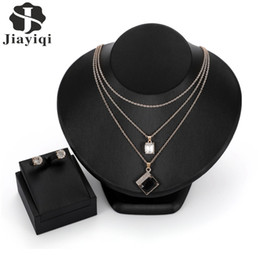 Crystal Layered Necklace NZ - Fashion Square Wedding Jewelry Sets Charm Crystal  Double Layered Choker Necklace 884ab89bf1f7