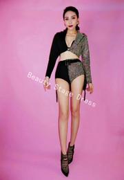17063ba302 Sparkly AB Rhinestones Outfit DJ DS Dress Sexy Black Blazer Short Design  Party 2 Pieces Set Dj Female Singer Nightclub Dance Skirt Costume
