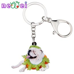 76cdd073f61 NEWEI Sweet Acrylic Halloween French Bulldog Key Chains Keychains Rings  Animal Fashion Jewelry For Women Girls Bag Gift Charms