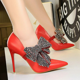 Women Lady Sexy Stiletto Heel Shoes 2018 New Wedding Shoes Elegant Evening Party  Prom Pumps With Crystal Bead Bowl Tie Pointed Toe Cheap 0ea2b164300f