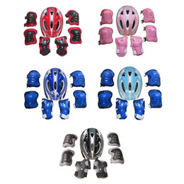 Iguardor 7pcs Ice Skates Protective Gear Bicycle Helmet Sports Safety Cycling Equipment Set For 5 -13 Year -Old Children -Red