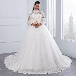 Vestido De Noiva High Neck IIIusion Back Long Sleeve Wedding Dresses 2018  Vintage White Lace Ball Gown Wedding Gowns Robe De Mariage a397cb2417c1