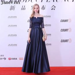JaneVini New Arrival Off Shoulder Long Evening Dress Navy Blue Half Sleeves  Women Prom Dresses 2018 Satin Formal Gown Party Dress Gala 25c73da4ddfe