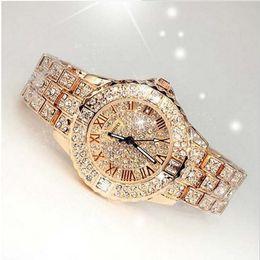 Bling Rhinestone Luxury Steel Quartz Watch Women Clock Female Ladies Dress  Wristwatch Gift Silver Gold 2018 Relojes Mujer Y18102310 a1dbffa334f1