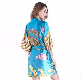 5de3e84e4a New Sexy Mini Women Summer Soft Satin Robe Japanese Female Kimono Geisha  Blue Dragon Bath Night Gown Sleepwear One Size JA039