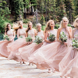 df6901a90b23 Dusty Pink Bridesmaid Dresses A Line Halter Sleeveless Sequined Chiffon  Floor Length Formal Party Cocktail Wedding Guest Maid Of Honor Dress