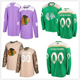 d1cb890ab Men's Chicago Blackhawks 2018 Hockey Fights Cancer Custom Practice Jersey  Camo Veterans 2019 St. Patrick's Day Replica Stitched Logos