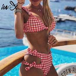 2017 high waisted bikini In-X High waisted swimsuit female Sexy plaid bikini 2019 Summer knot bathing suit Women push up swimwear Beachwear Retro biquini